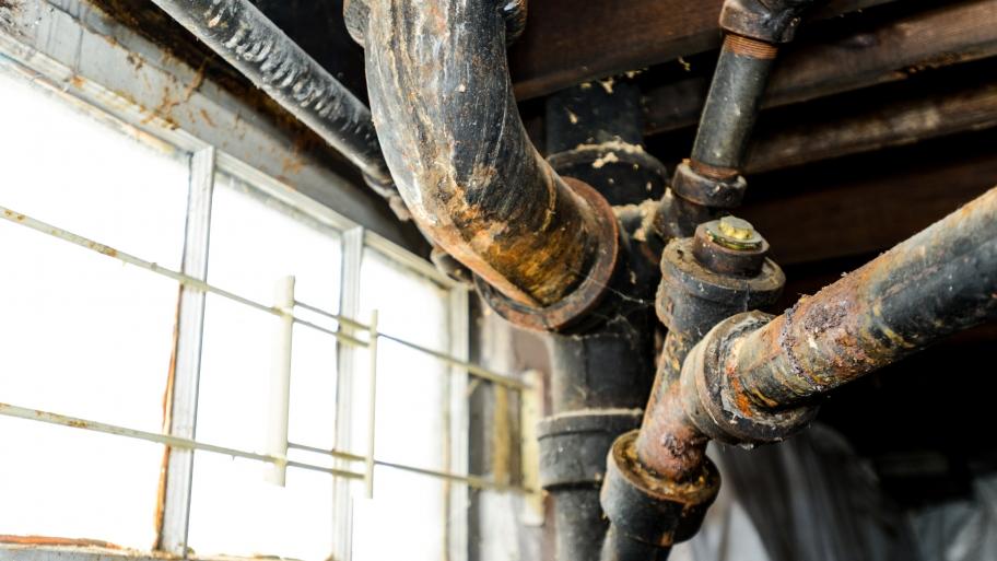 Corroded Galvanized Drain Pipe